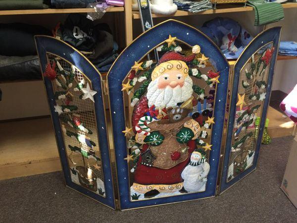 Gorgeous Santa Christmas fireplace screen huge three dimensional