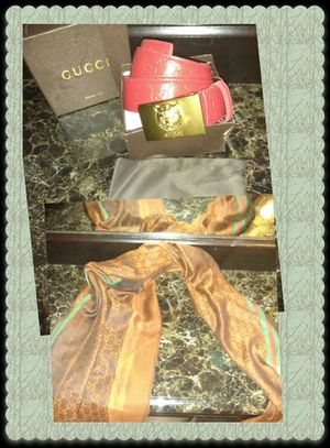 Red Gucci belt and scarf