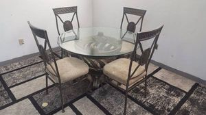 Glass Top & Heavy Wrought Iron Dining Room Table and 4 Chairs