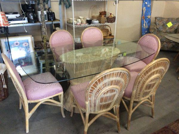 Beautiful Whitewash Rattan Dining Room Set Furniture In Myrtle Beach SC