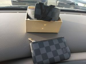 Louis Vuitton black and grey belt and pouch