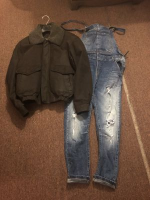 IOU Distressed Genuine Leather Jacket and Zara Mens Overalls size 36/L send Offers Price is negotiable