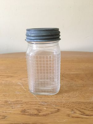 Vintage Checkered Pattern Jar With Ball Zinc Lid