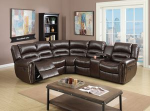 Brown Leather Reclining Selectional set $1599.99 or as low as $57.24 per week.. please visit iNeedBed.info for more details
