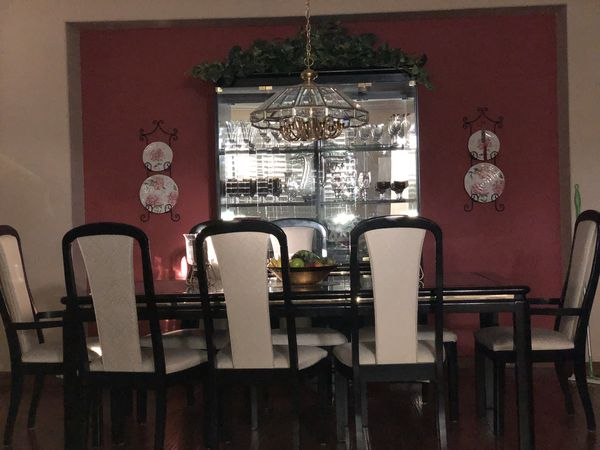 Dining Room Set Made With Black Lacquer