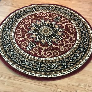 Brand new round rug size 5x5 circle red carpet
