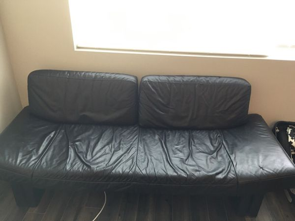 selling dania black leather sofa couch furniture in seattle wa