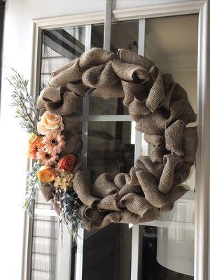 Fall themed burlap wreath