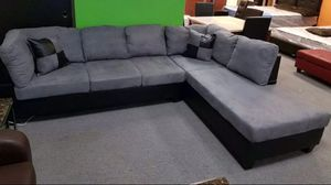 Brand new gray microfiber sectional