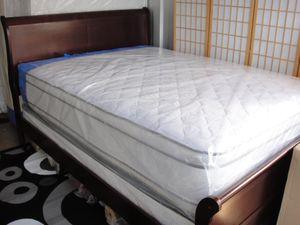 Brand New Queen Size Cherry Wood Sleigh Bed + Pillowtop Mattress Set